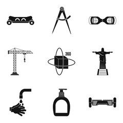 Pendulum icons set, simple style
