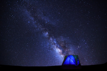 Landscape with milky way galaxy, Starry night sky with stars and silhouette of dome tent