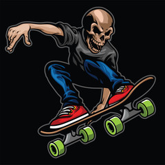 skull riding skateboard and doing the stunt
