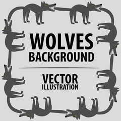Background with wolves. Cartoon flat characters. Vector Image.