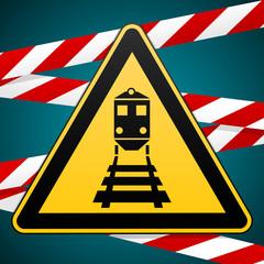 Beware of train Warning sign and warning bands. Vector illustration.