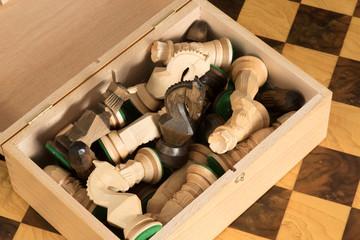 Schachfiguren in einer Schatulle