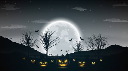 Halloween night background with pumpkin, naked trees, bat and full moon on dark background.