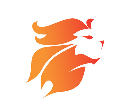 Modern Flaming Brave Lion Logo