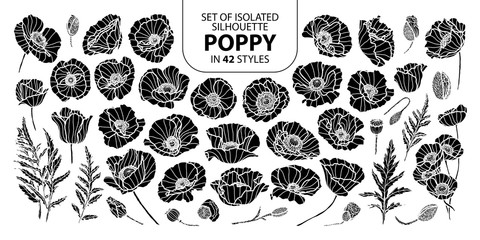 Set of isolated silhouette poppy in 42 styles. Cute hand drawn vector illustration in white outline and black plane.