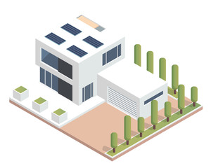 Modern Luxury Isometric Green Eco Friendly House With Solar Panel, Suitable for Diagrams, Infographics, Illustration, And Other Graphic Related Assets