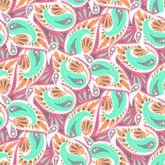 Paisley vector seamless pattern.