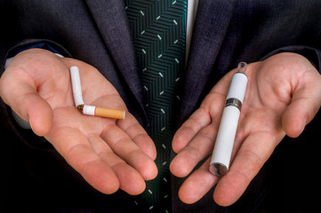 Choice between tobacco cigarette and electronic cigarette