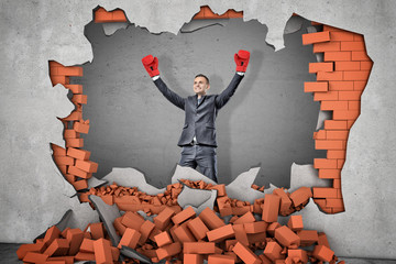 A victorious businessman in boxing gloves stands near a hole in a brick wall with rubble lying...