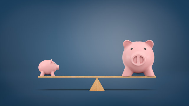3d rendering of a small piggy bank in side view stands on a wooden seesaw balanced with a large piggy bank in front view.
