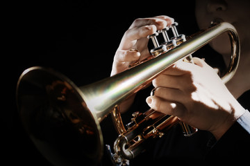 Trumpet instrument. Music player trumpeter jazz playing