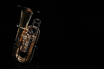 Poster Music Tuba brass instrument. Wind music instrument. Orchestra bass