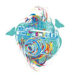 Travel tattoo and t-shirt design. Vintage camera summer adventure creative art