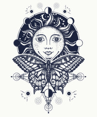 Magic medieval sun and butterfly tattoo and t-shirt design. Sun tattoo art. Moon phases. Medieval alchemical symbol of the sun, moon phases coloring book. Sacred Geometry sun