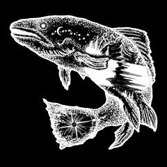 Fish tattoo and t-shirt design. Trout double exposure tattoo art and t-shirt design. Symbol of fishing, tourism, wild nature, outdoor, travel. Salmon double exposure tattoo