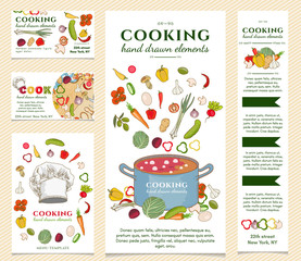 Big cooking collection. Cooking restaurant menu template. Cooking design elements vector illustration