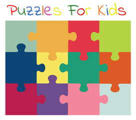 Vector colorful puzzles for kids