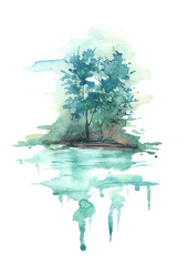 Watercolor blue landscape, river bank, lake, with trees and bushes against the background of Night, morning. In vintage illustration. Maple, aspen, poplar on the river bank, reflected in the water.