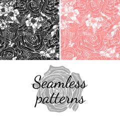 Set. Seamless patterns. Blossoming rose.