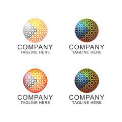 circle globe logo vector illustration template
