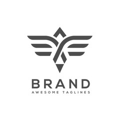 best simple Vector wings logo . Winged logo company and icon wing flying, eagle wing brand and logotype wing bird illustration