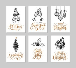 Set Christmas and Happy New Year greeting cards with handwritten calligraphy and decorative elements.