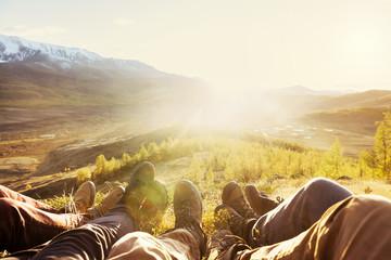 Travel tourism friendship mountains legs concept