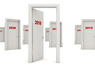 Door with 2018 New Year sign isolated on white