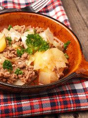 White cabbage with potatoes and beef