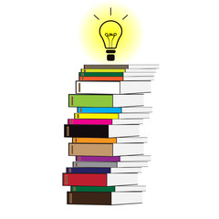 Stack of books with a bulb on a white background.