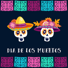 Dia de Los Muertos, Day of the Dead or Halloween greeting card, invitation. Party decoration with sugar skulls and handmade cut flags. Vector illustration background.