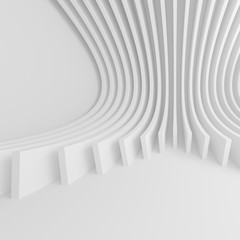 White Architecture Circular Background. Abstract Tunnel Design. Modern Geometric Wallpaper