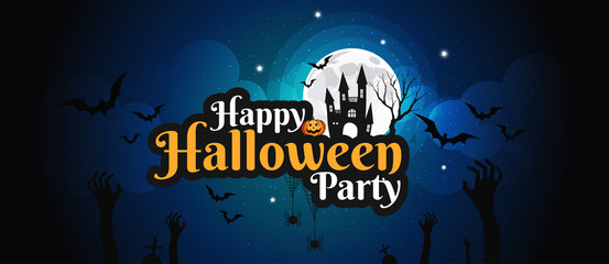 Halloween character and lettering element design for banner, Trick or Treat Concept, vector illustration