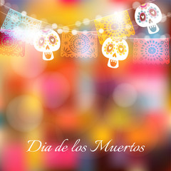 Dia de Los Muertos, Day of the Dead or Halloween card, invitation. Party decoration, string of lights, handmade cut party flags and skulls. Modern colorful blurred vector illustration, background.