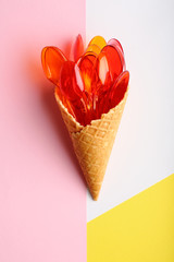 Colour spoons in waffle cone