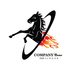 Logo with horse in jump