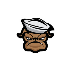 illustrated angry sailor dog vector illustration