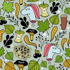 Seamless pattern with unicorns and plants.