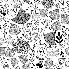 Black and white endless wallpaper with cute birds and doodle plants.