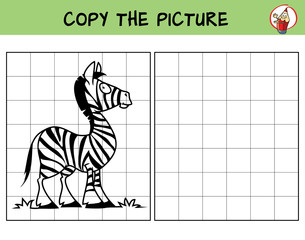 Funny little zebra. Copy the picture. Coloring book. Educational game for children. Cartoon vector illustration