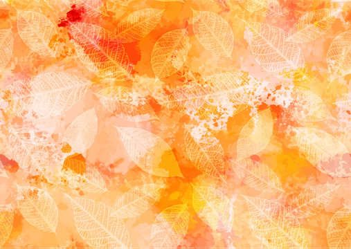 Abstract watercolour autumn leaves background with brush strokes