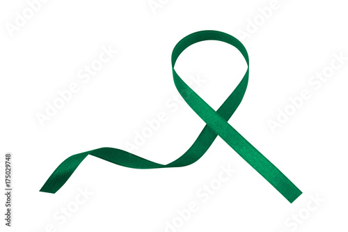 Green Ribbon Isolated On A White Background Awareness Of Health And