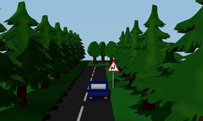 Darstellung der Straßensituation Doppelkurve mit Verkehrsschild und blauen Auto.
