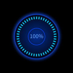 Blue round progress circle. Download sign. Load system