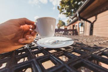 morning coffee in as street coffee shop