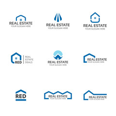 Set of real estate logo templates. House, buildings, skyline creative abstract shapes for logo design.