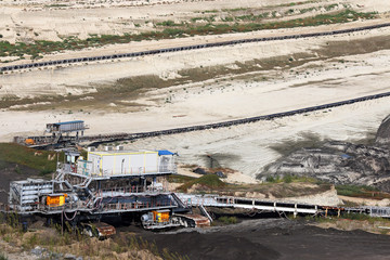 Open pit coal mine with heavy machinery mining industry