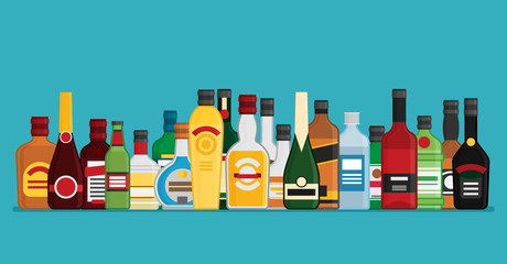 Flat vector bottles with alcohol
