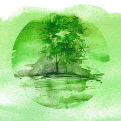 Watercolor painting, logo. Watercolor green landscape, river bank, lake, with trees and bushes against the background of Night, morning. In a circular element.