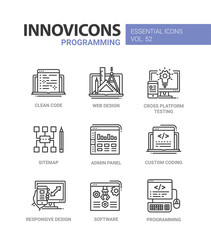 Programming - modern vector line design icons set.